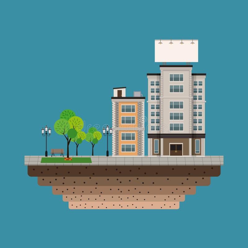Ciudad del edificio con el fondo urbano en blanco grande del azul de la cartelera stock de ilustración
