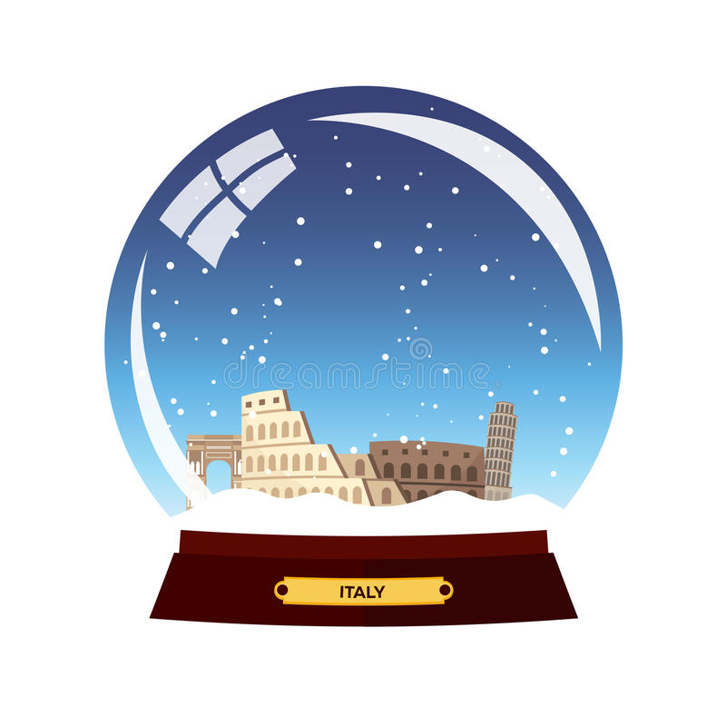Ciudad del globo de la nieve Roma en globo de la nieve Italia Ejemplo del viaje del invierno libre illustration