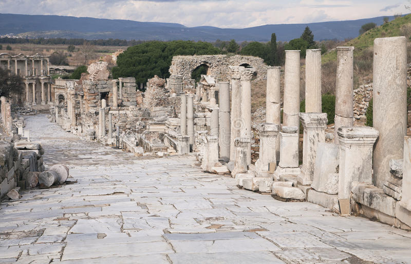 Ciudad del griego clásico de Ephesus en Turquía imagen de archivo libre de regalías
