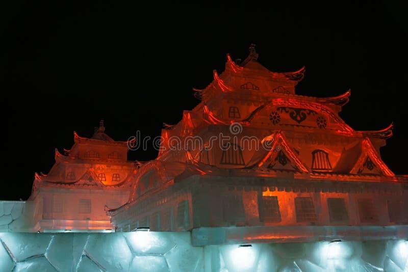 Ciudad del hielo del Año Nuevo en la noche imagen de archivo libre de regalías