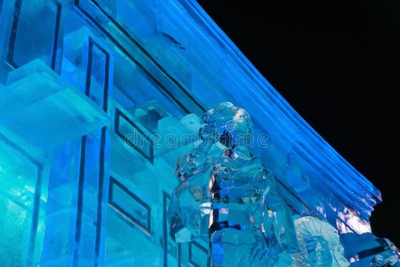 Ciudad del hielo del Año Nuevo en la noche foto de archivo