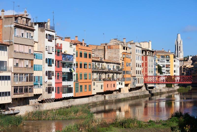 Ciudad del horizonte de Girona en España fotografía de archivo libre de regalías