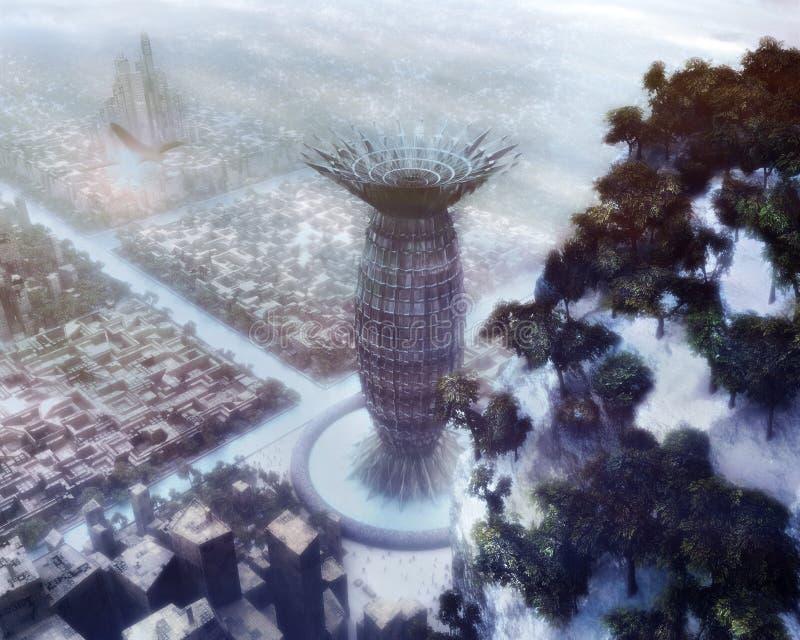 Ciudad del invierno de la ciencia ficción stock de ilustración