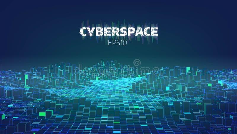 Ciudad del juego del ciberespacio Internet de cosas Fondo futurista de la tecnología ilustración del vector
