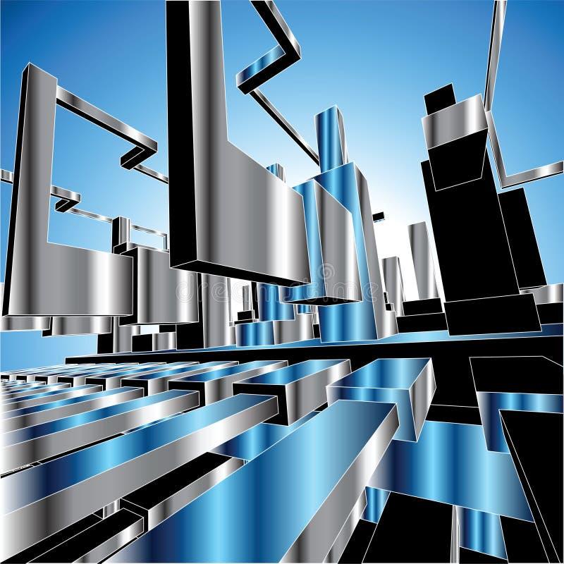 ciudad del metal del fondo del vector 3D
