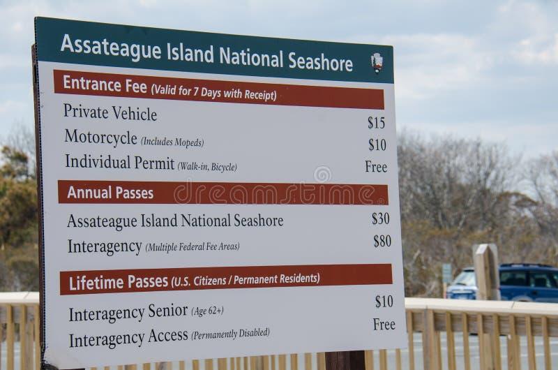 Ciudad del océano, Maryland: Muestra nacional de la costa de la isla de Assateague para los precios de admisión foto de archivo