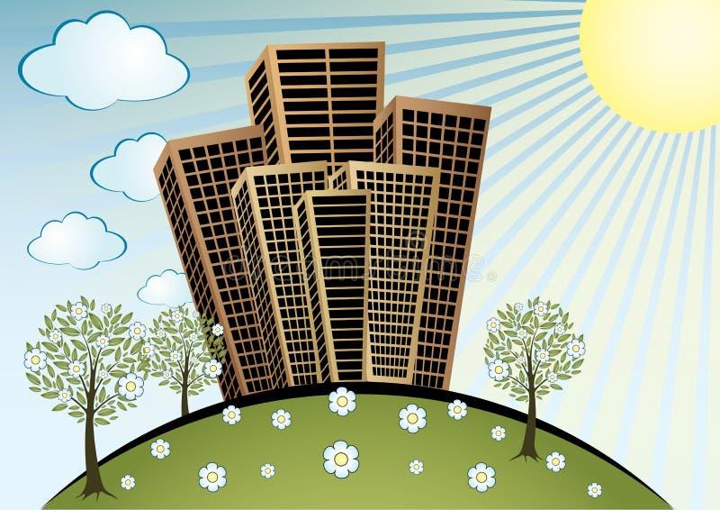 Ciudad del resorte ilustración del vector