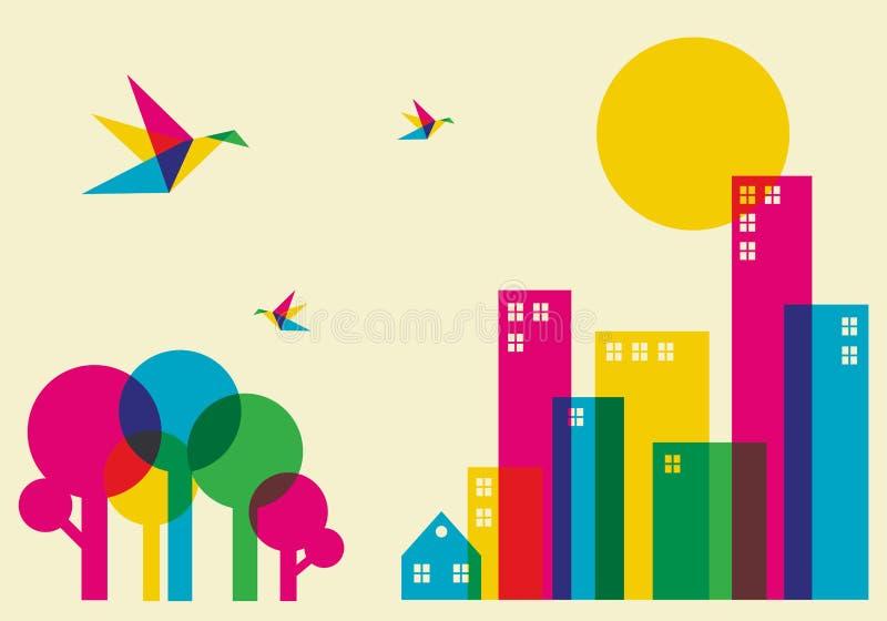 Ciudad del tiempo de resorte libre illustration