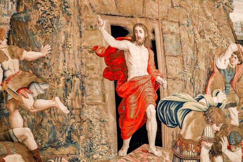 CIUDAD DEL VATICANO, VATICANO - 1 DE JULIO DE 2017: Tapicería en el renacimiento de Jesus Christus de la Ciudad del Vaticano fotos de archivo libres de regalías