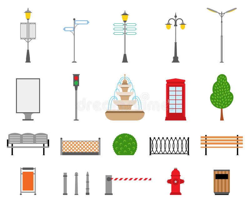 Ciudad del vector, calle, parque e iconos al aire libre de los elementos fijados stock de ilustración
