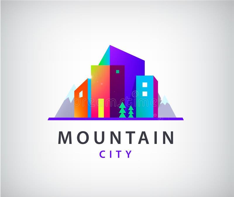 Ciudad del vector con el logotipo de las montañas libre illustration
