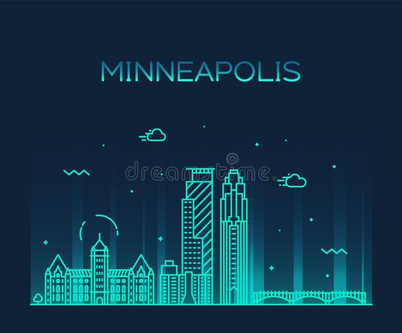 Ciudad del vector de Minnesota los E.E.U.U. del horizonte de la ciudad de Minneapolis ilustración del vector