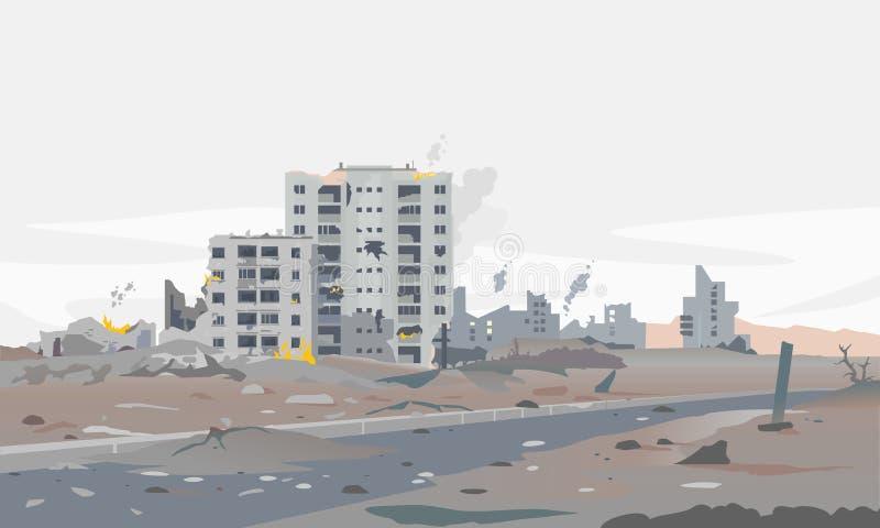 Ciudad destruida guerra con los edificios ardientes libre illustration