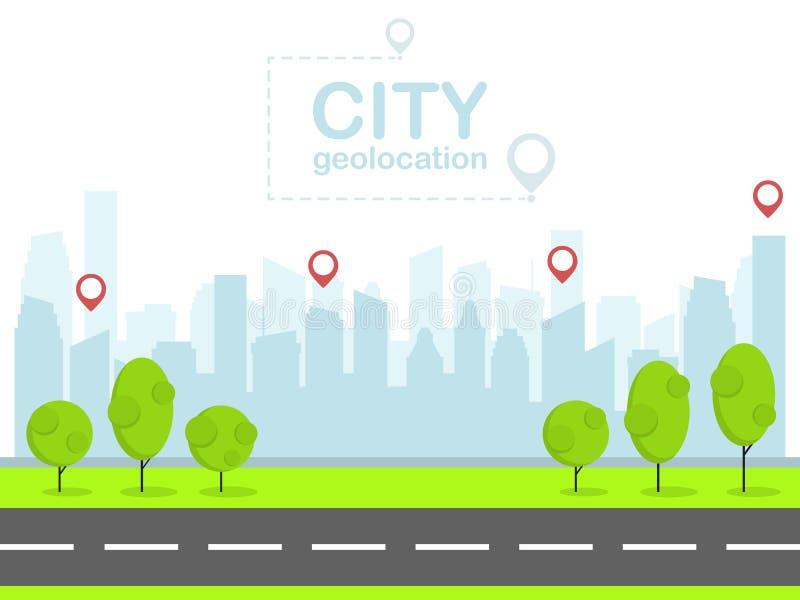 Ciudad elegante con la navegación del perno Paisaje urbano Vector plano del diseño stock de ilustración