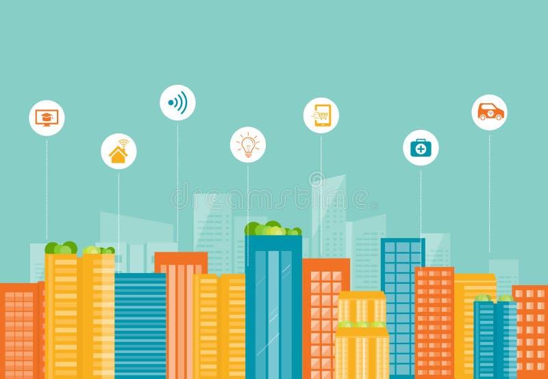 Ciudad elegante del negocio Conexión a internet social stock de ilustración