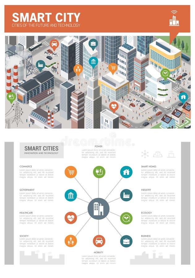 Ciudad elegante infographic ilustración del vector