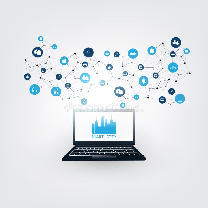Ciudad elegante, Internet de cosas o concepto de diseño computacional de la nube con los iconos - conexiones de red de Digitaces, stock de ilustración