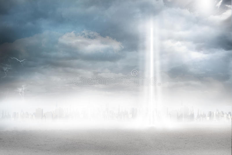 Ciudad en el horizonte con el haz luminoso ilustración del vector