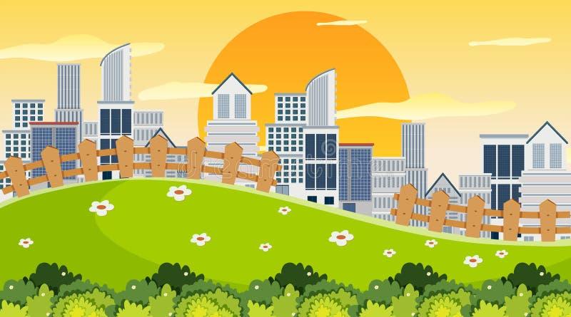 Ciudad en escena del parque ilustración del vector