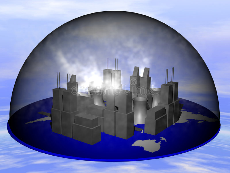 Ciudad en humo stock de ilustración