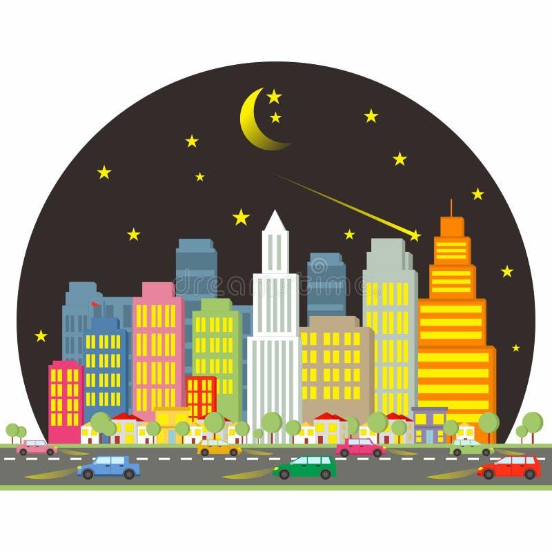 Ciudad en la noche - eclips de la historieta imagenes de archivo