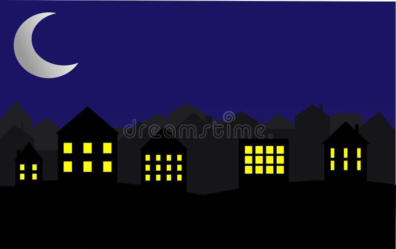 Ciudad en la noche Luna y estrellas brillantes en el cielo Ilustraci?n stock de ilustración