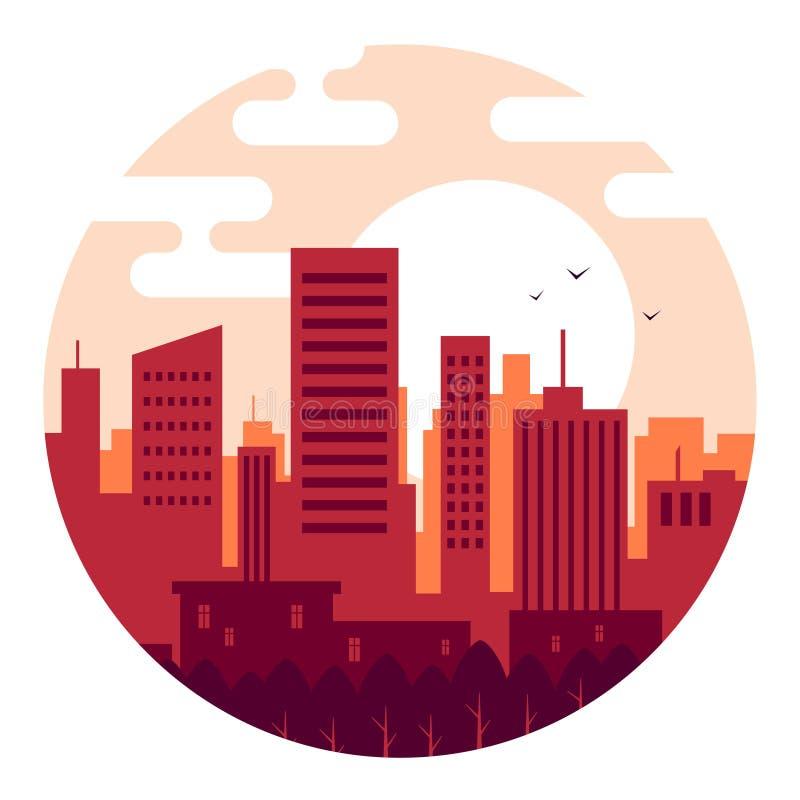 Ciudad en la puesta del sol el d?a en colores calientes ilustración del vector
