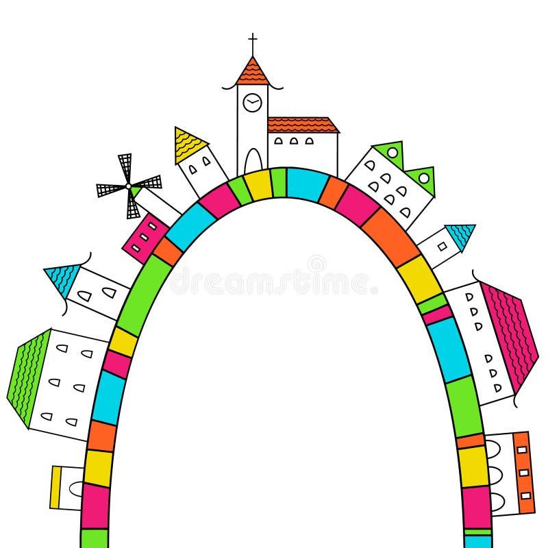 Ciudad en un arco iris stock de ilustración