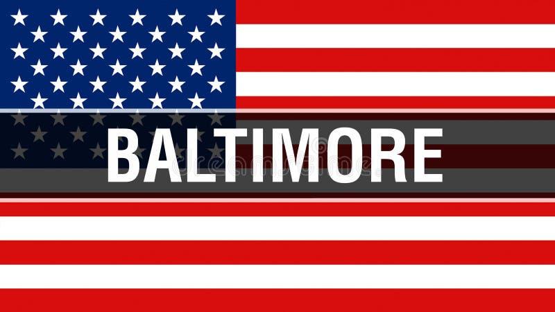 Ciudad en un fondo de la bandera de los E.E.U.U., de Baltimore representación 3D Bandera de los Estados Unidos de América que agi ilustración del vector