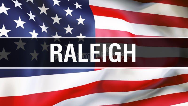 Ciudad en un fondo de la bandera de los E.E.U.U., de Raleigh representación 3D Bandera de los Estados Unidos de América que agita stock de ilustración