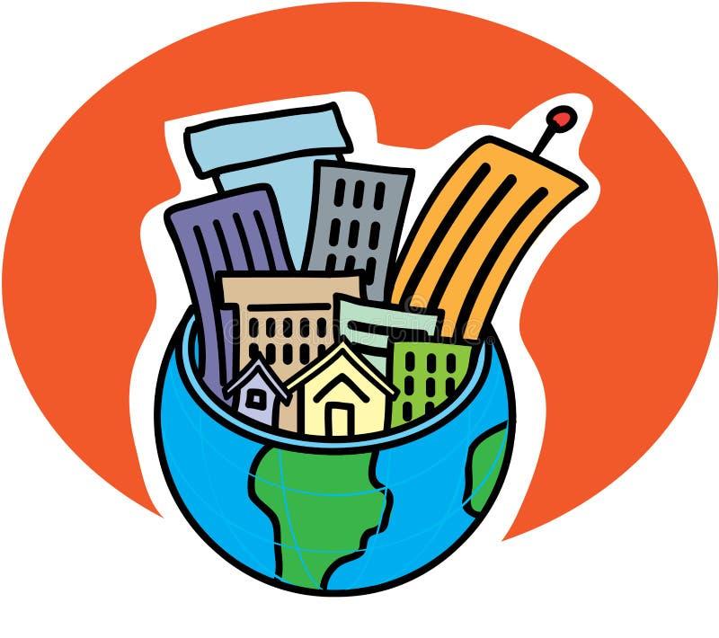 Ciudad en un globo stock de ilustración
