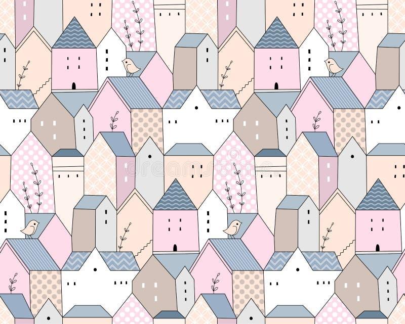 Ciudad escandinava linda libre illustration