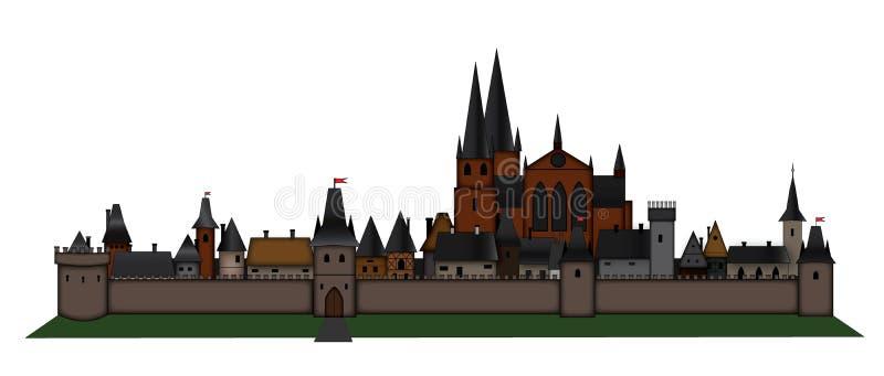 Ciudad europea medieval stock de ilustración