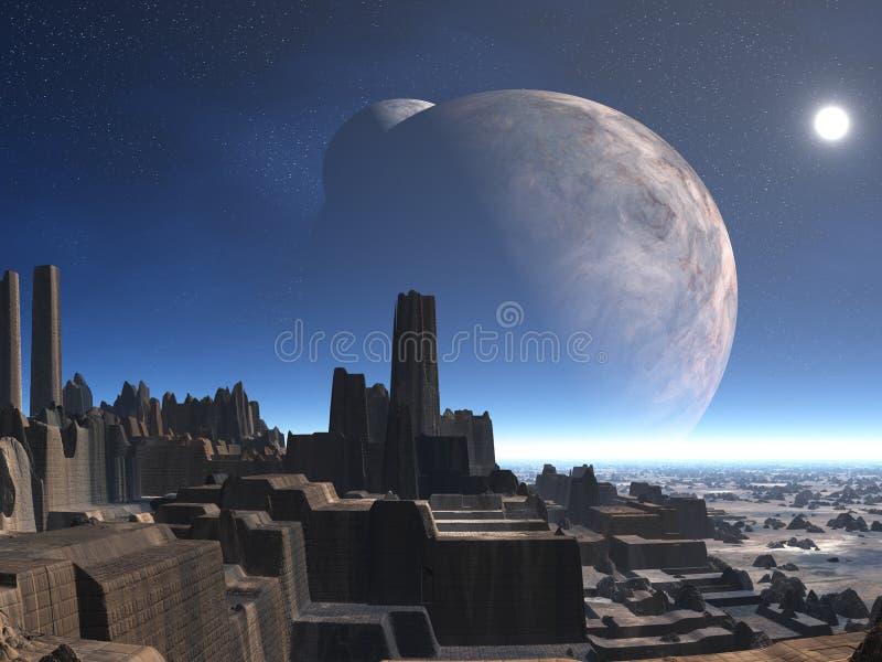 Ciudad extranjera abandonada ilustración del vector