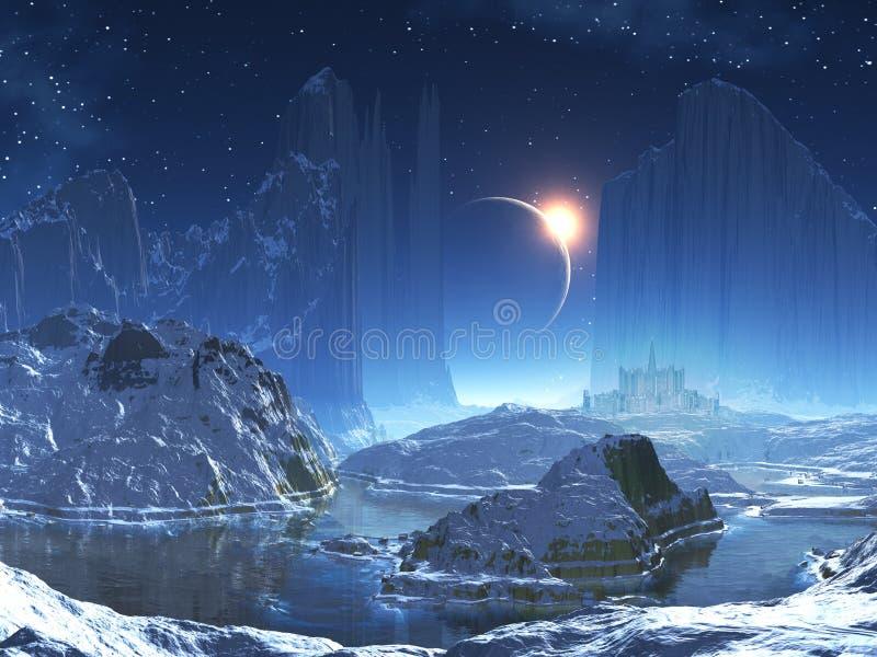 Ciudad extranjera en el lago en invierno ilustración del vector