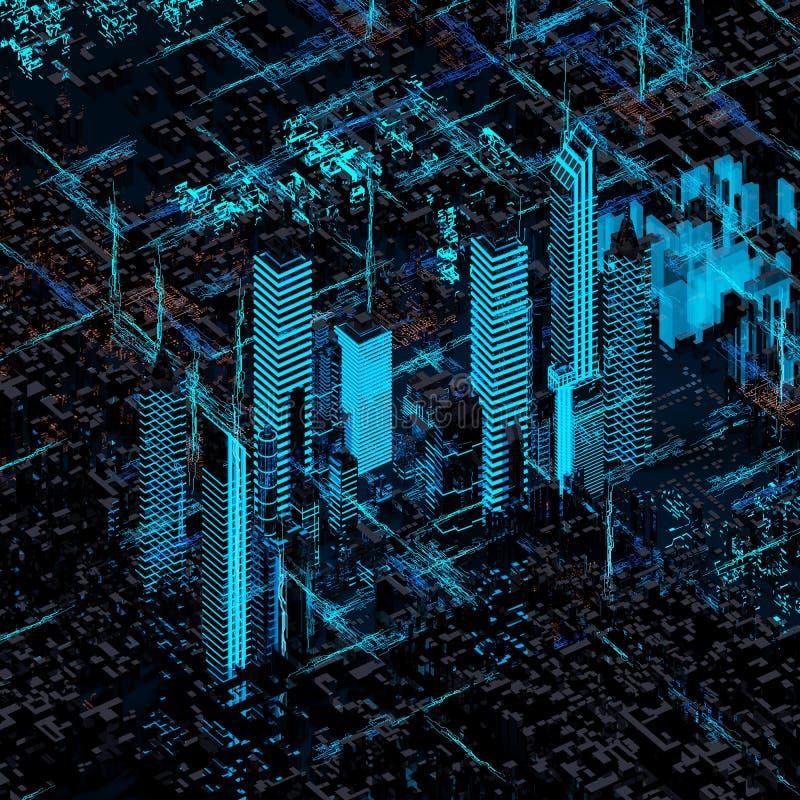 Ciudad futura abstracta stock de ilustración