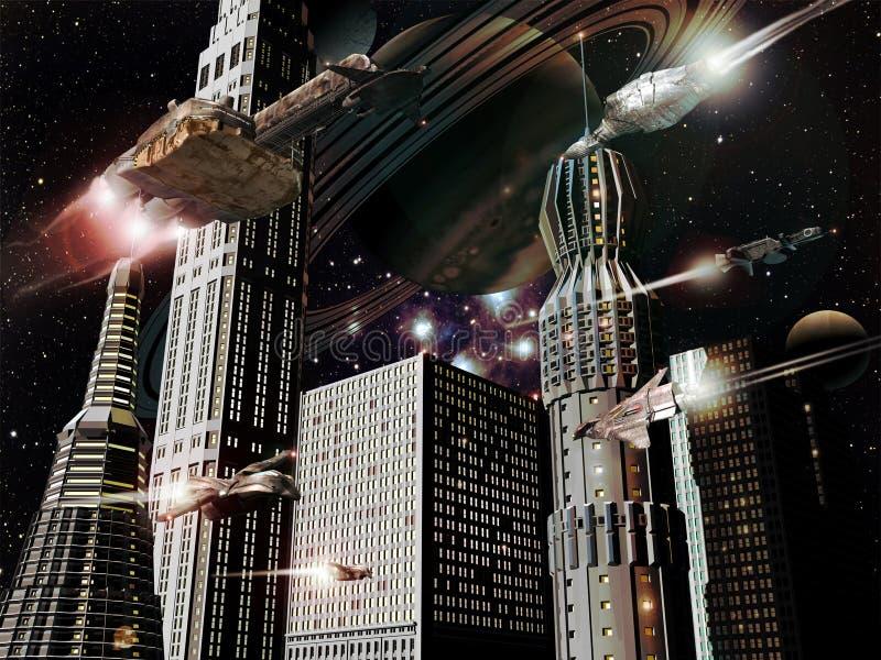 Ciudad futurista libre illustration