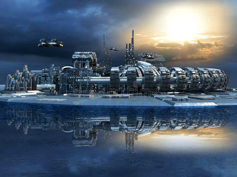 Ciudad futurista con el puerto deportivo y los aviones hoovering