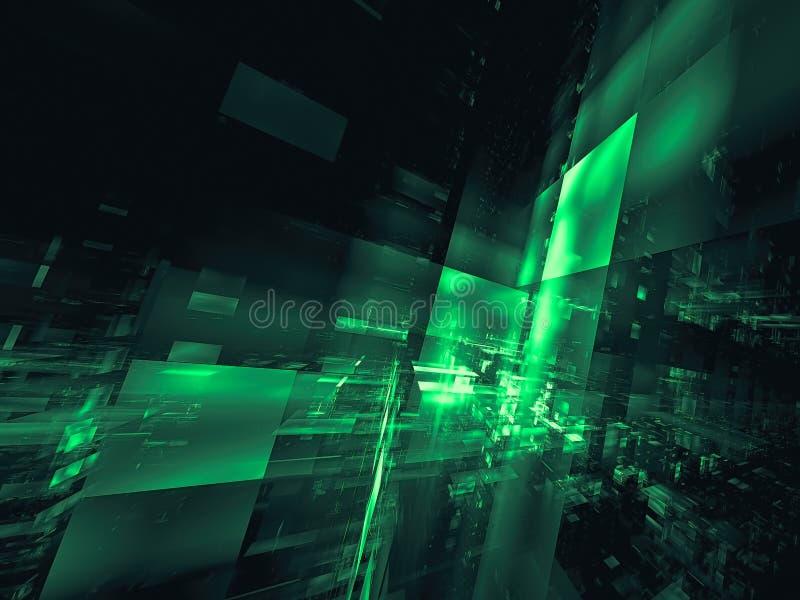 Ciudad futurista con las paredes de cristal - el extracto digital gener? imagen fotografía de archivo