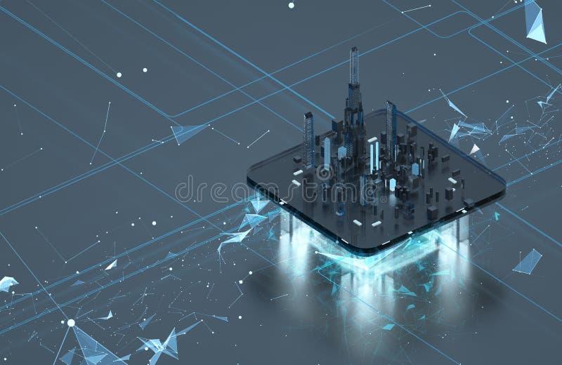 Ciudad futurista en un fondo oscuro Luz de neón de la ciudad futura fotos de archivo libres de regalías