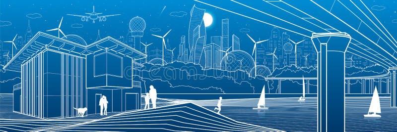 Ciudad futurista Vida urbana Infraestructura de la ciudad Ejemplo industrial Puente grande Gente en la orilla del río Casas moder libre illustration