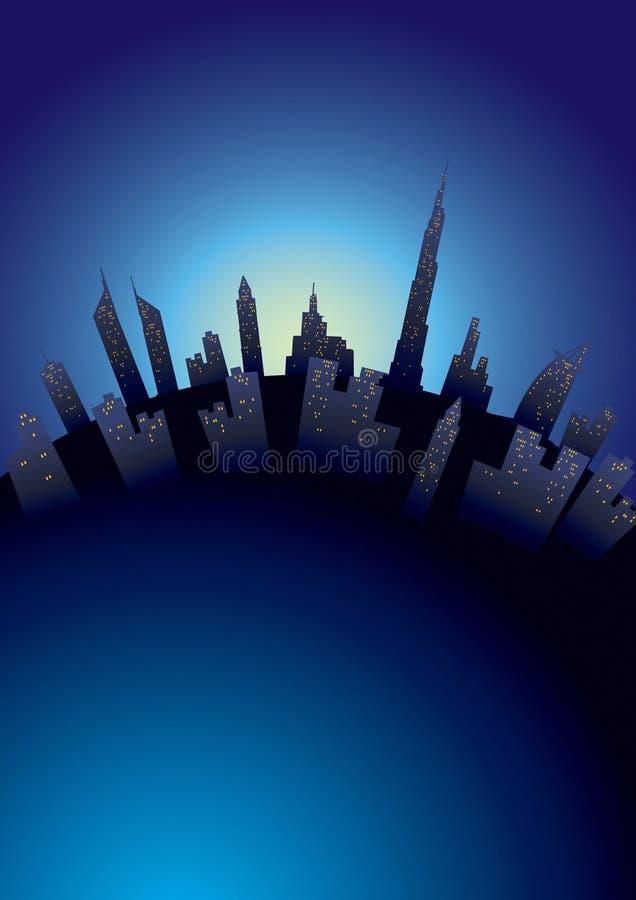 Ciudad global de Dubai stock de ilustración
