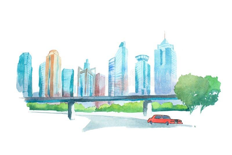 Ciudad grande céntrica, pintura del paisaje urbano del dibujo de la acuarela de la acuarela stock de ilustración