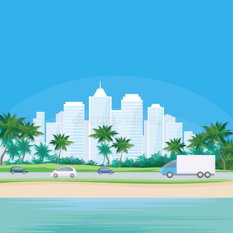 Ciudad grande por el mar ilustración del vector