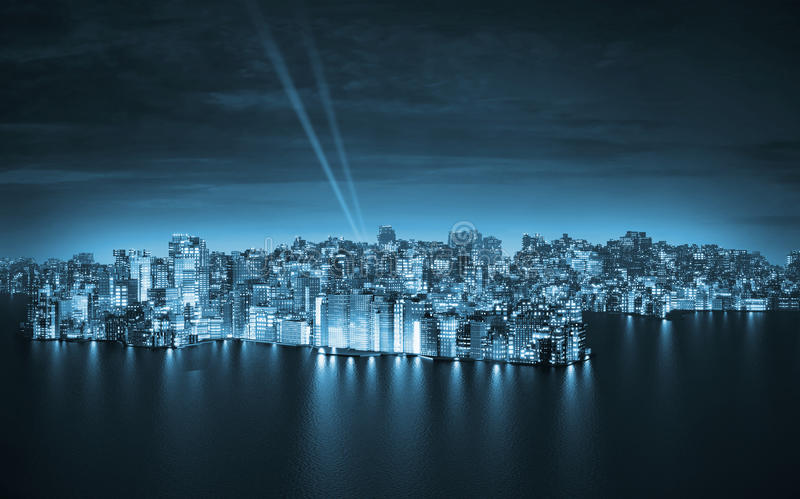Ciudad grande por noche stock de ilustración