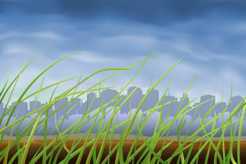 Ciudad grande vista a través de hierba libre illustration