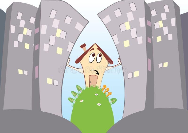 Ciudad grande y poca casa. stock de ilustración