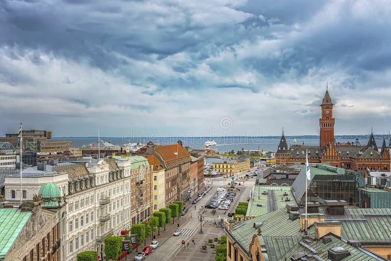 Ciudad Hall From Above de Helsingborg fotos de archivo libres de regalías