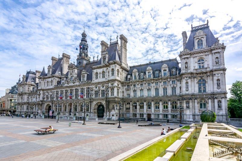 Ciudad Hall Hotel de Ville en Par?s, Francia imagenes de archivo