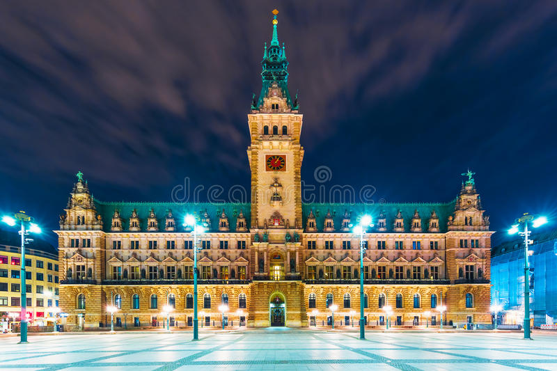 Ciudad Hall Square en Hamburgo, Alemania fotografía de archivo libre de regalías